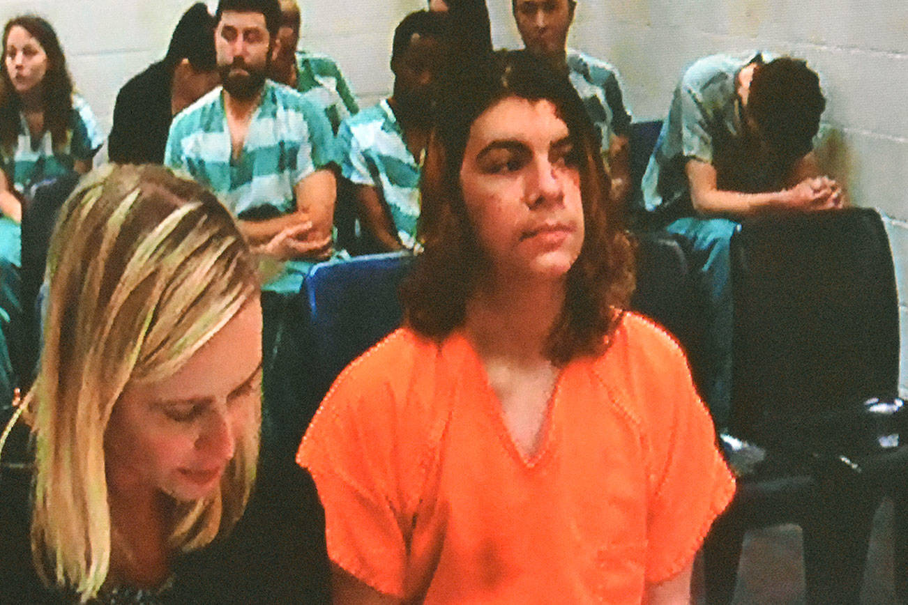 Joshua Alexander O'Connor, 18, appears in court on Wednesday. He is accused of plotting to bomb and shoot classmates at ACES High School in Everett. (Caleb Hutton / The Herald)