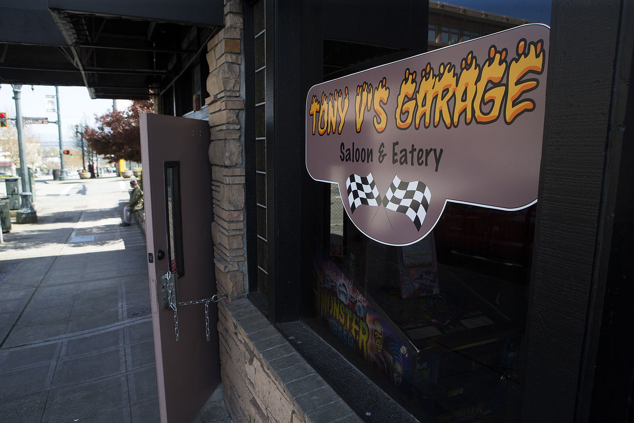 The entrance to Tony V's Garage is seen on Hewitt Avenue in downtown Everett.