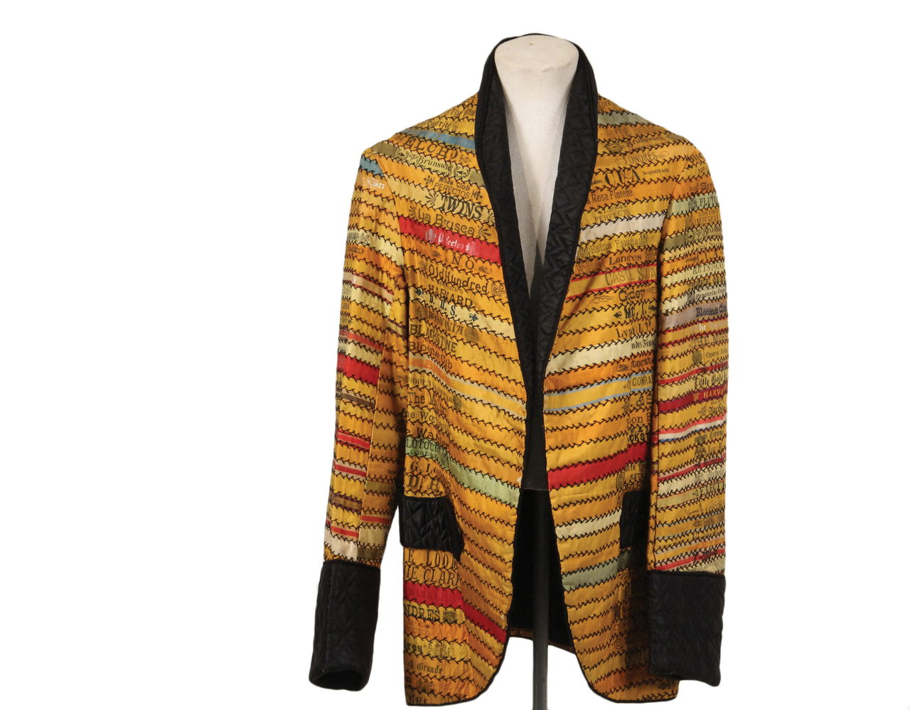 This unique c. 1880s smoking jacket made from silk cigar bands would fit a young boy. It sold at an auction in Thomaston, Maine for $1,755.