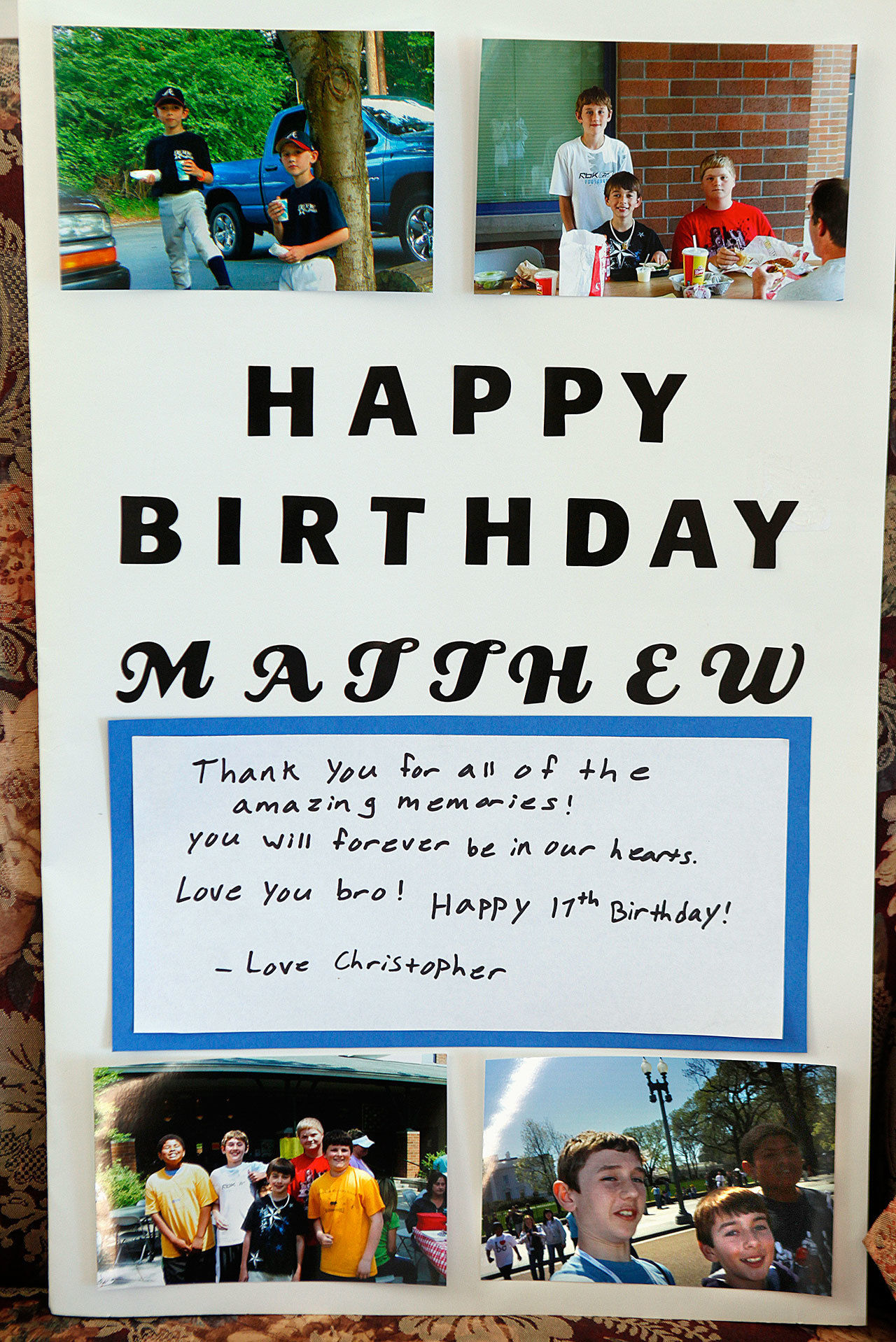 A birthday card made by friends of Matthew Truax, who died of hypertrophic cardiomyopathy in 2013, was displayed in the Truax's home shortly after his death. Matthew would have turned 20 this Sunday, September 18. (Genna Martin / Herald File)