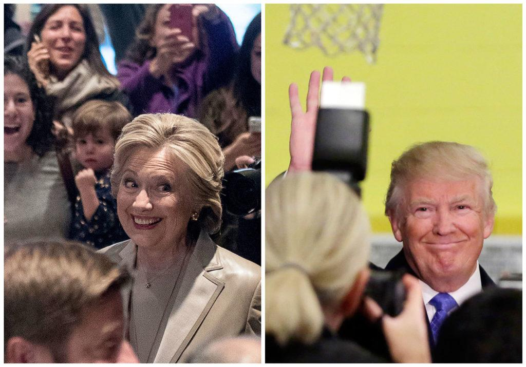 Democratic presidential candidate Hillary Clinton (left) greets supporters after voting in Chappaqua, New York, and Republican presidential candidate Donald Trump waves after voting in New York, on Tuesday, Nov. 8. (AP Photo/Andrew Harnik, Richard Drew)