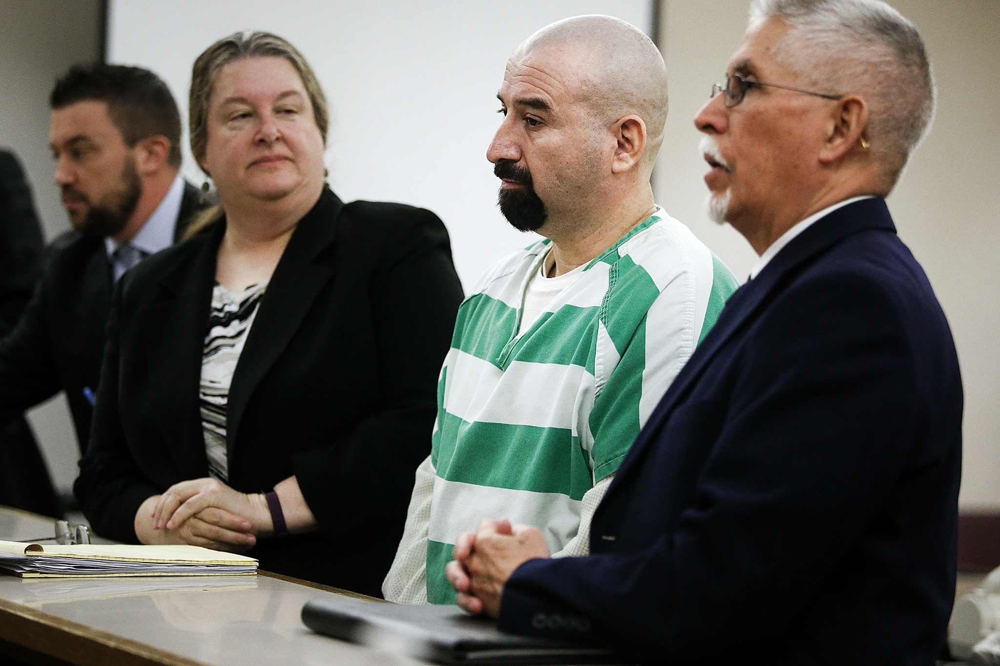 Alexander Sandoval-Ortiz appears at a sentencing hearing at Snohomish County Superior Court in Everett on Wednesday. Sandoval-Ortiz was given a 35-year prison sentence for killing Carlos Lara-Ramos, 28, on June 16, 2015, outside an apartment complex along W. Casino Road in Everett. (Ian Terry / The Herald)