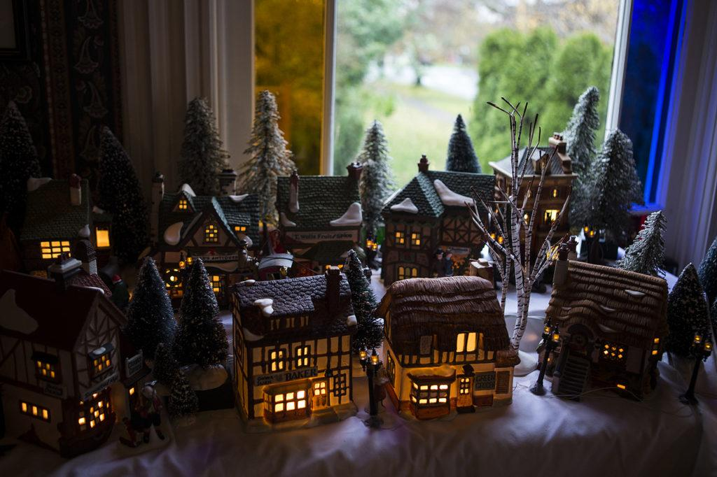 Lisa Pickford's collection of Dickens' Village Series homes is seen at her home in Snohomish. (Ian Terry / The Herald)