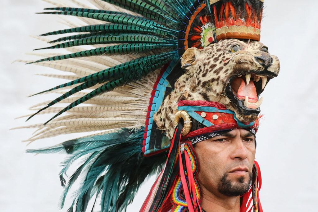 Javier Ramirez of the Aztec Indian Dancers Saturday afternoon during the annual Evergreen State Fair in Monroe. The 12-day fair runs through Labor Day and is one of the largest events held in the Pacific Northwest. (Kevin Clark / The Herald)