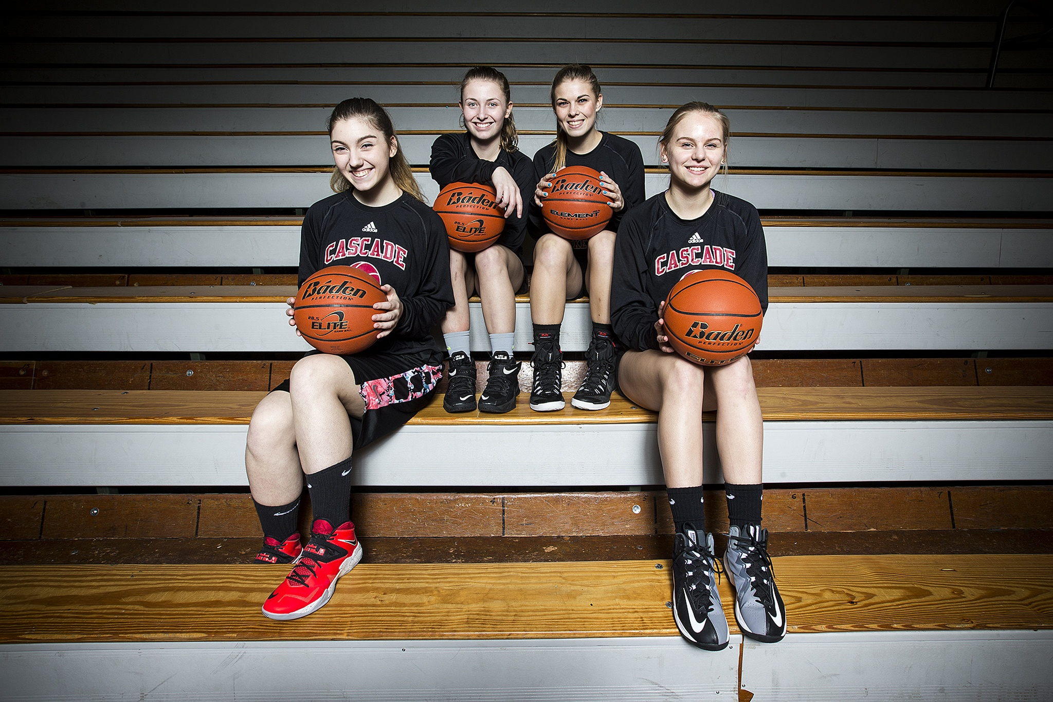 Cascade seniors (from left) Megan Thomas, Anneka Hilde, Jessica Welch and Lexi Strike helped snap their team's 41-game Wesco 4A losing streak. (Ian Terry / The Herald)