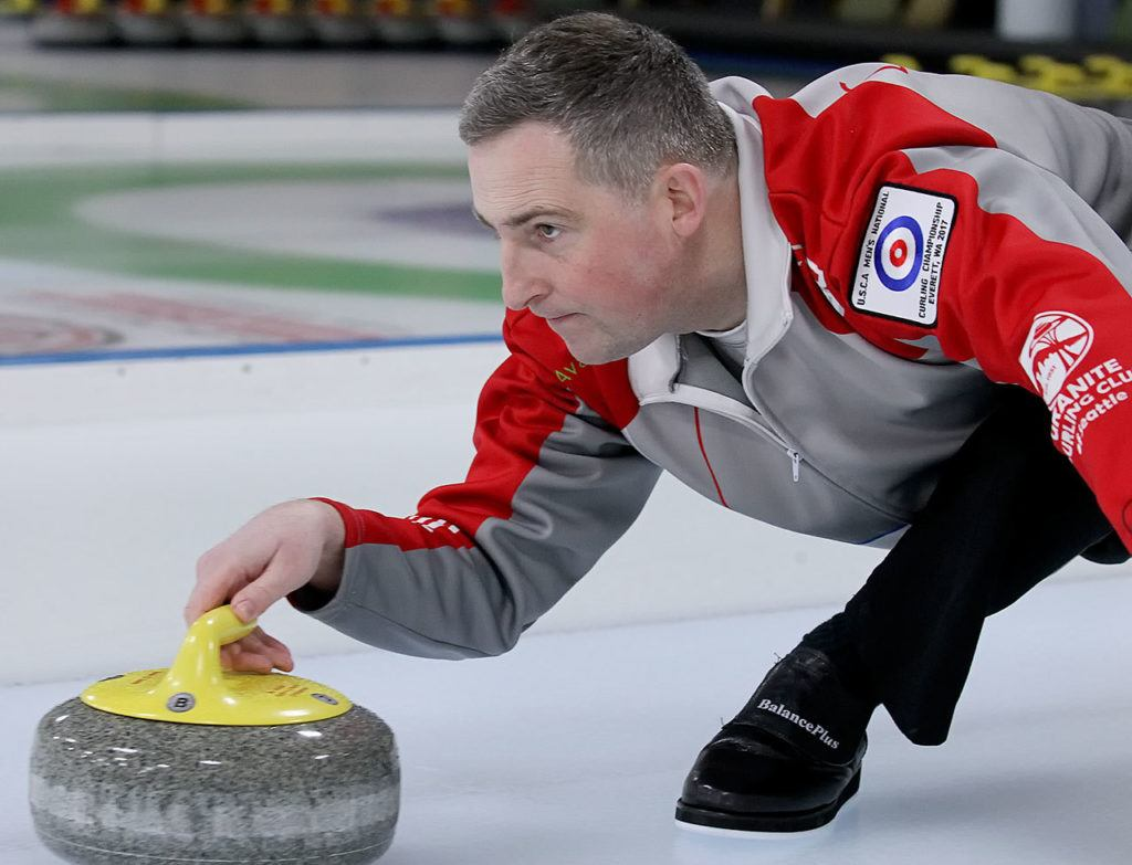 Lynnwood's Brady Clark practices on Feb. 8, 2017, at the Granite Curling Club in Seattle. (Kevin Clark / The Herald)
