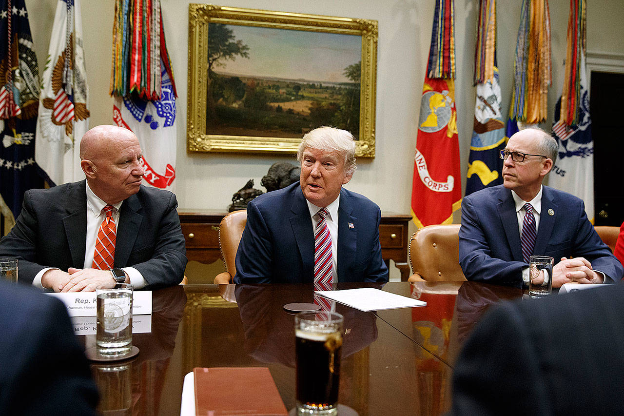 President Donald Trump speaks in the White House on Friday during a meeting on health care. He is flanked by Rep. Kevin Brady, R-Texas, (left) and Rep. Greg Walden, R-Ore. (AP Photo/Evan Vucci)