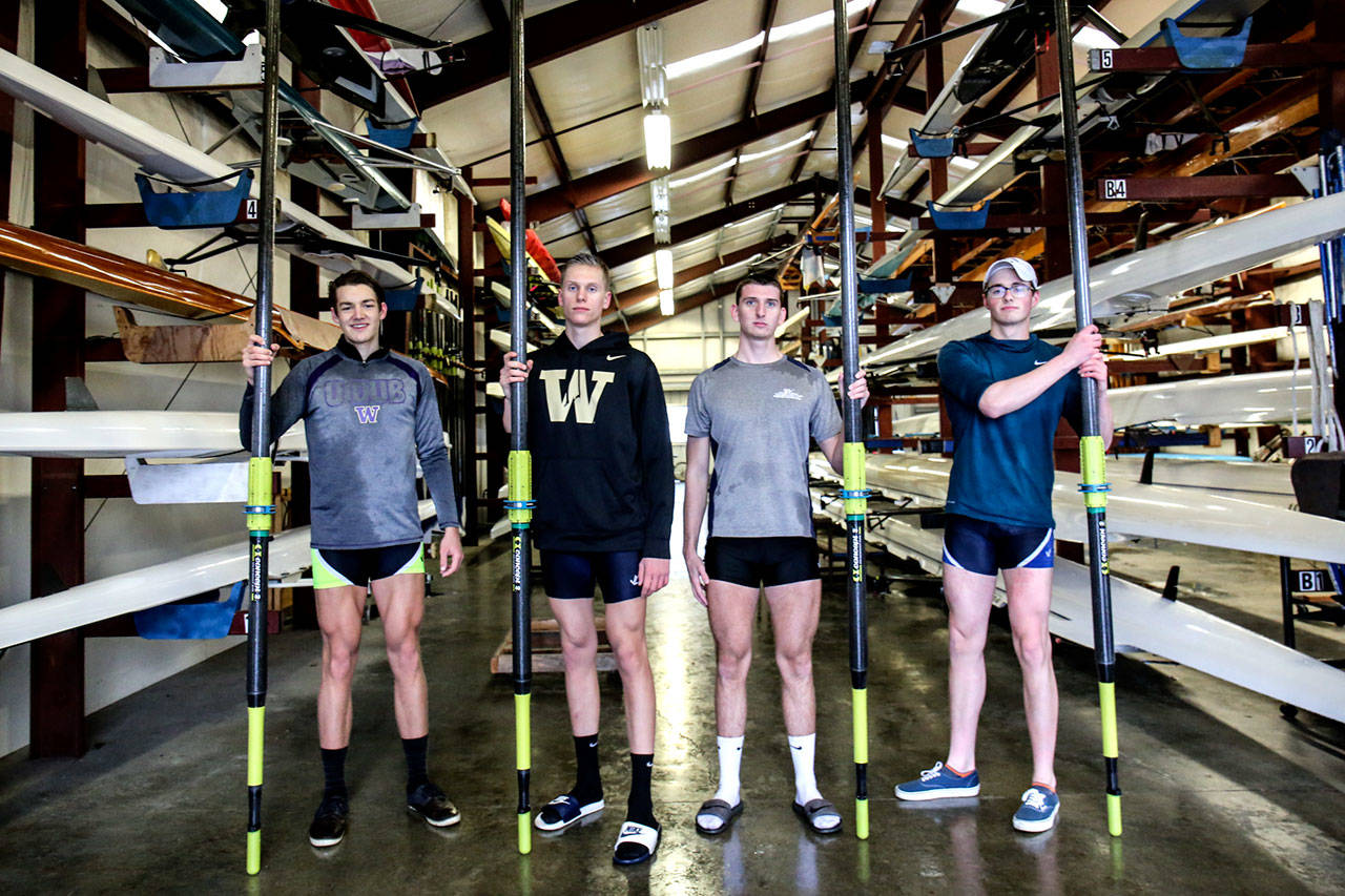Chase Barrows, Chandler Kovacevich, Cameron Helgerson and Ethan Grice are members of the Everett Rowing Association's senior class. They'll join the University of Washington's men's rowing team in the fall. (Kevin Clark / The Herald)
