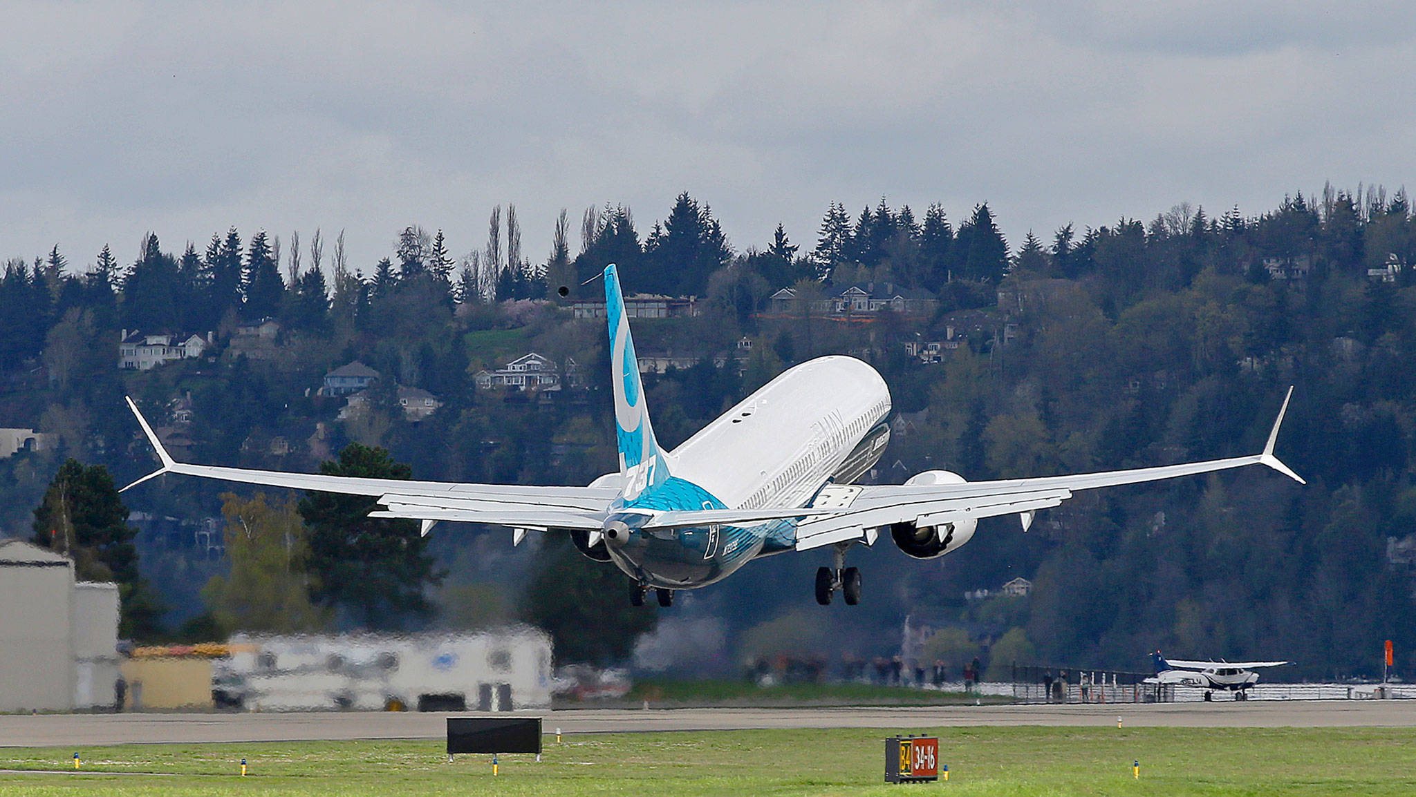 A Boeing 737 MAX 9 airplane takes off on the model's first flight on April 13 in Renton. (AP Photo/Ted S. Warren)                                 A Boeing 737 MAX 9 airplane takes off on its first flight, April 13, 2017, in Renton.                                 (Ted S. Warren / Associated Press)