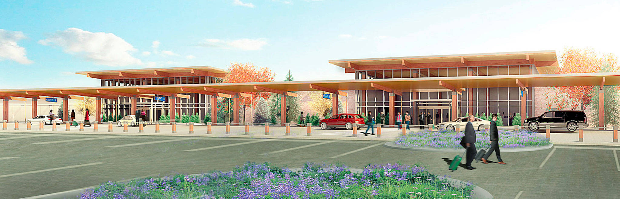 An artist's rendering shows the planned passenger terminal at Paine Field in Everett. (Propeller Airports)