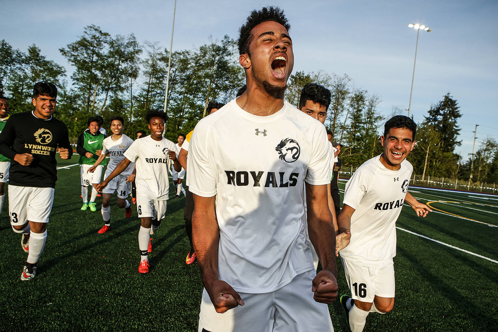 Lynnwood's Ryley Johnson celebrates a 2-1 victory over Squalicum in a 3A District 1 Tournament semifinal game on May 9, 2017, at Shoreline Stadium. Johnson scored the go-ahead goal in the second half of the match. (Ian Terry / The Herald)