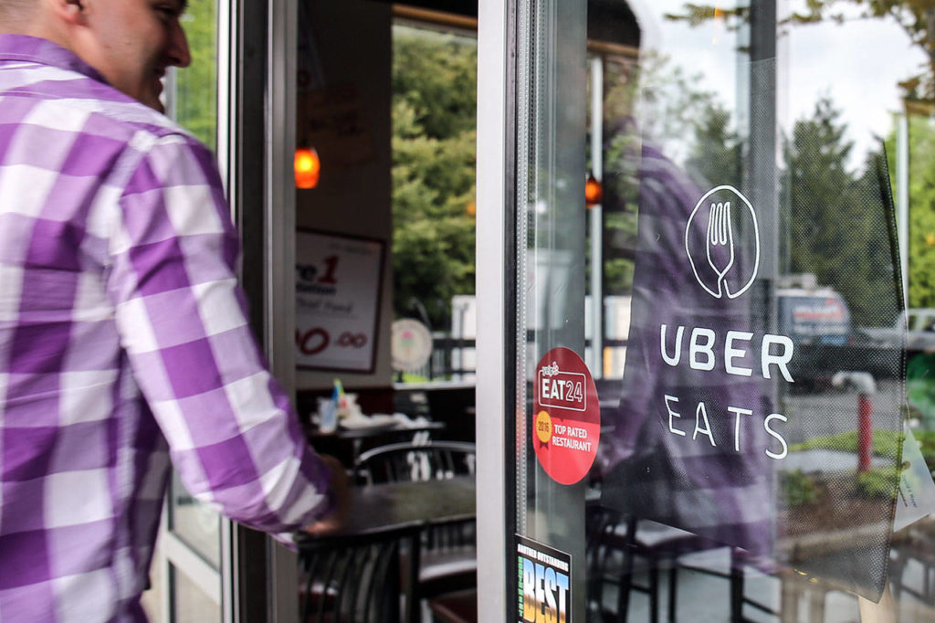 Red Onion Burgers is a client member of Uber Eats in Mountlake Terrace. (Kevin Clark / The Herald)