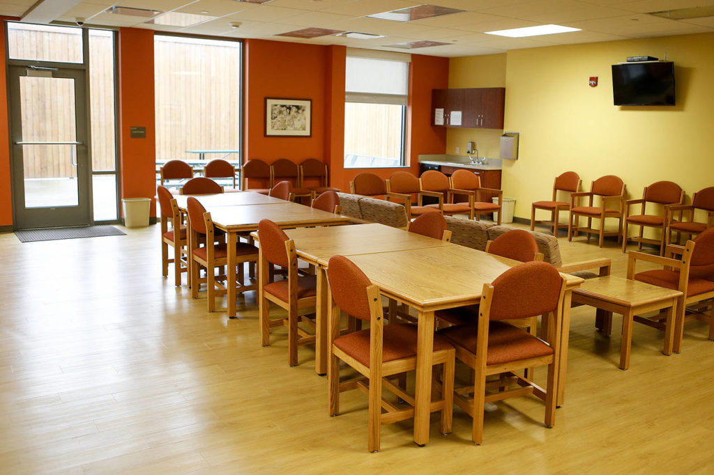 A common area is seen on a unit in the Smokey Point Behavioral Hospital in Marysville. (Ian Terry / The Herald)