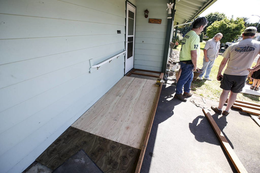 A wheelchair ramp is seen during construction in Marysville on Saturday, May 27. (Ian Terry / The Herald)