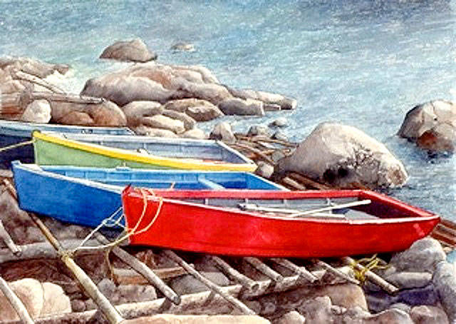 Vibrant color is important in Harold's watercolors, such as this recent shore scene. A group of her paintings will be exhibited in the Edmonds Arts Festival Foundation Gallery during the festival.