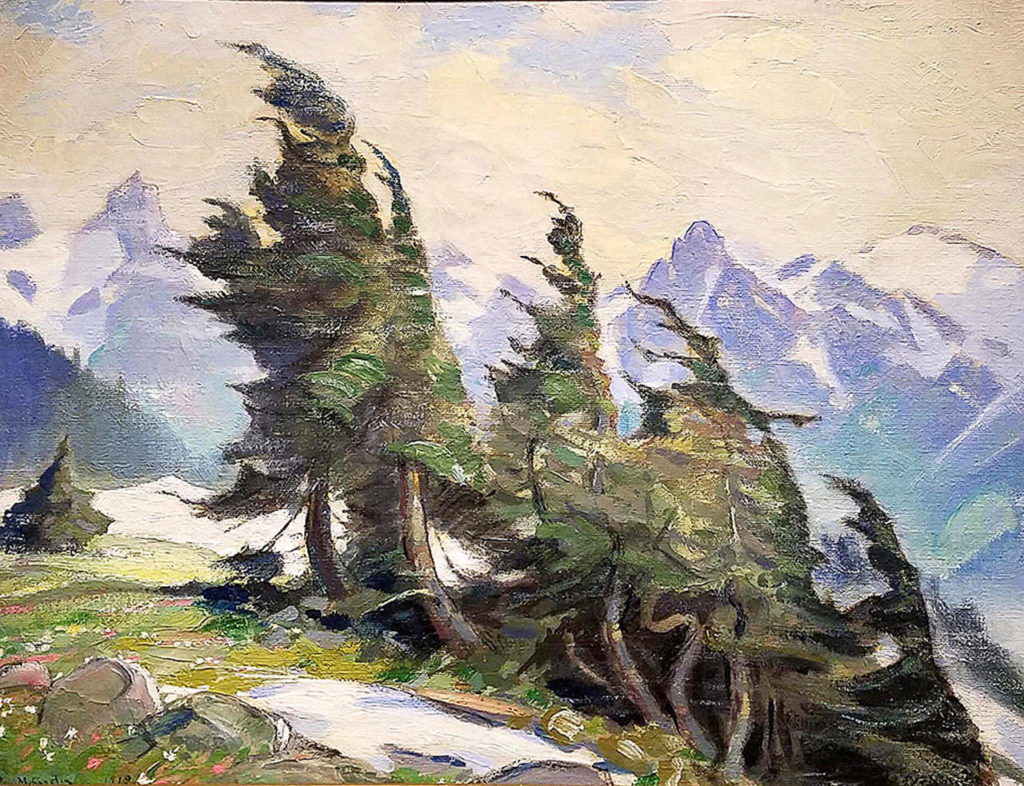 """Painted in 1919, """"Mountain Trees on Ridge Above Nisqually Glacier with the Tatoosh Mountains in Background"""" is an example of Gustin's love of Northwest scenes."""