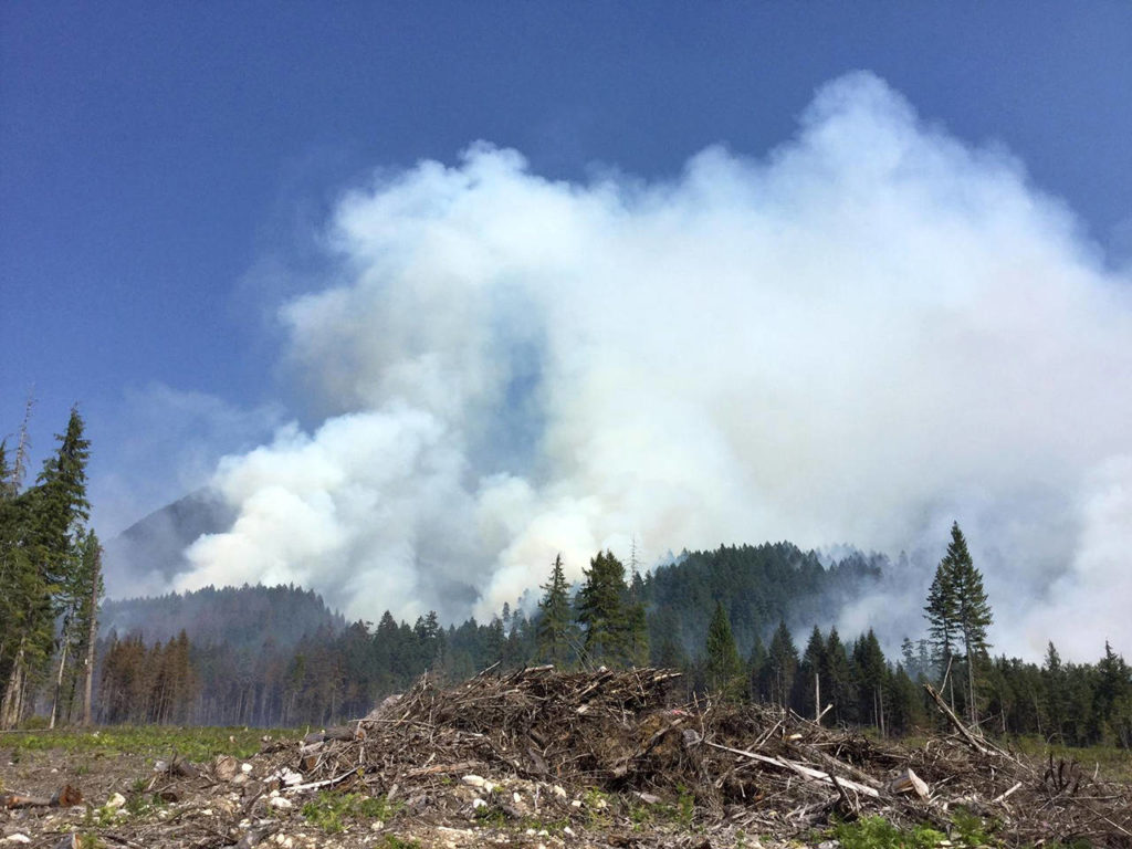 A wildfire near Darrington continues to burn Wednesday. (Northwest Washington Incident Management Team)