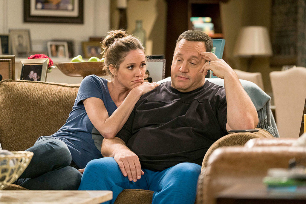 """Erinn Hayes and Kevin James in the first season of """"Kevin Can Wait."""" (Michael Parmelee/CBS)"""