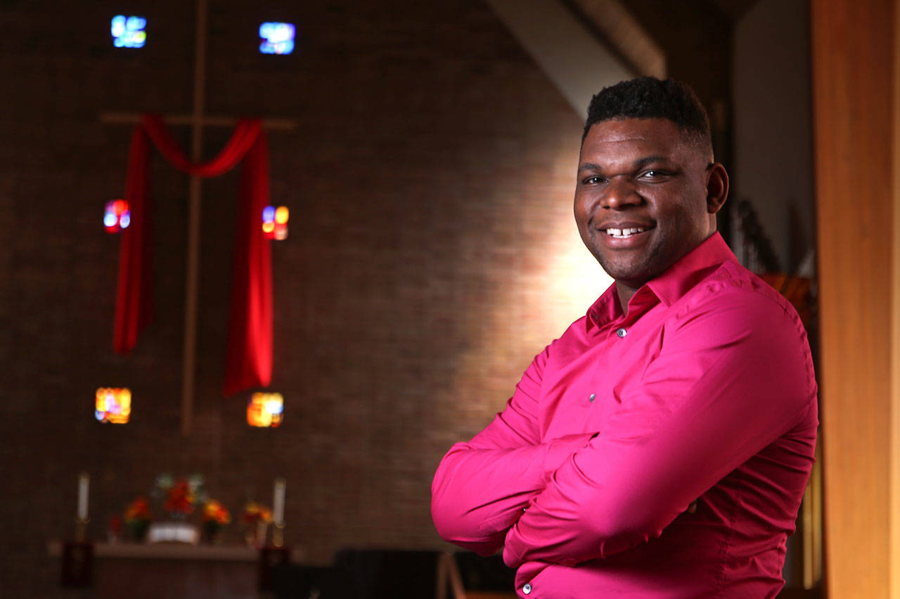 Darrell Goodwin recently joined the Everett United Church of Christ. He is the first African American LGBT pastor in the church's 125-year history. (Kevin Clark / The Herald)