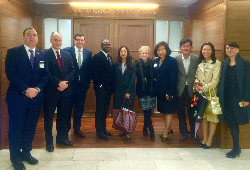Herald reporter Andrea Brown and other American journalists on the 2015 U.S.-Korea study tour at the Korea Press Foundation in Seoul.
