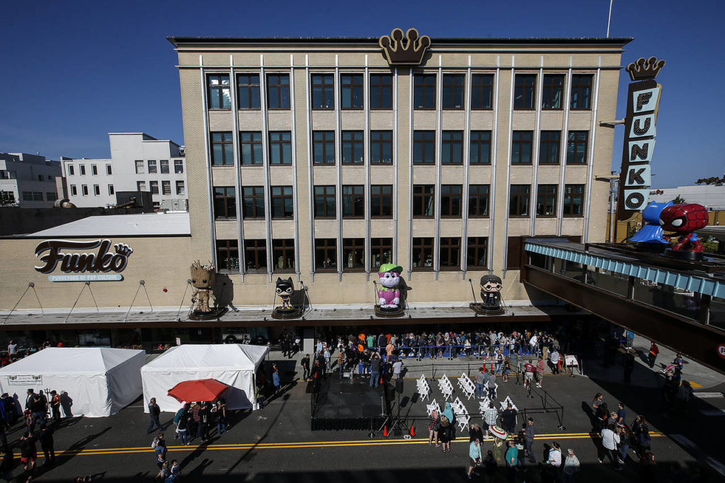 The Funko building is seen on Wetmore Avenue in Everett during the company's grand opening on Saturday. (Ian Terry / The Herald)