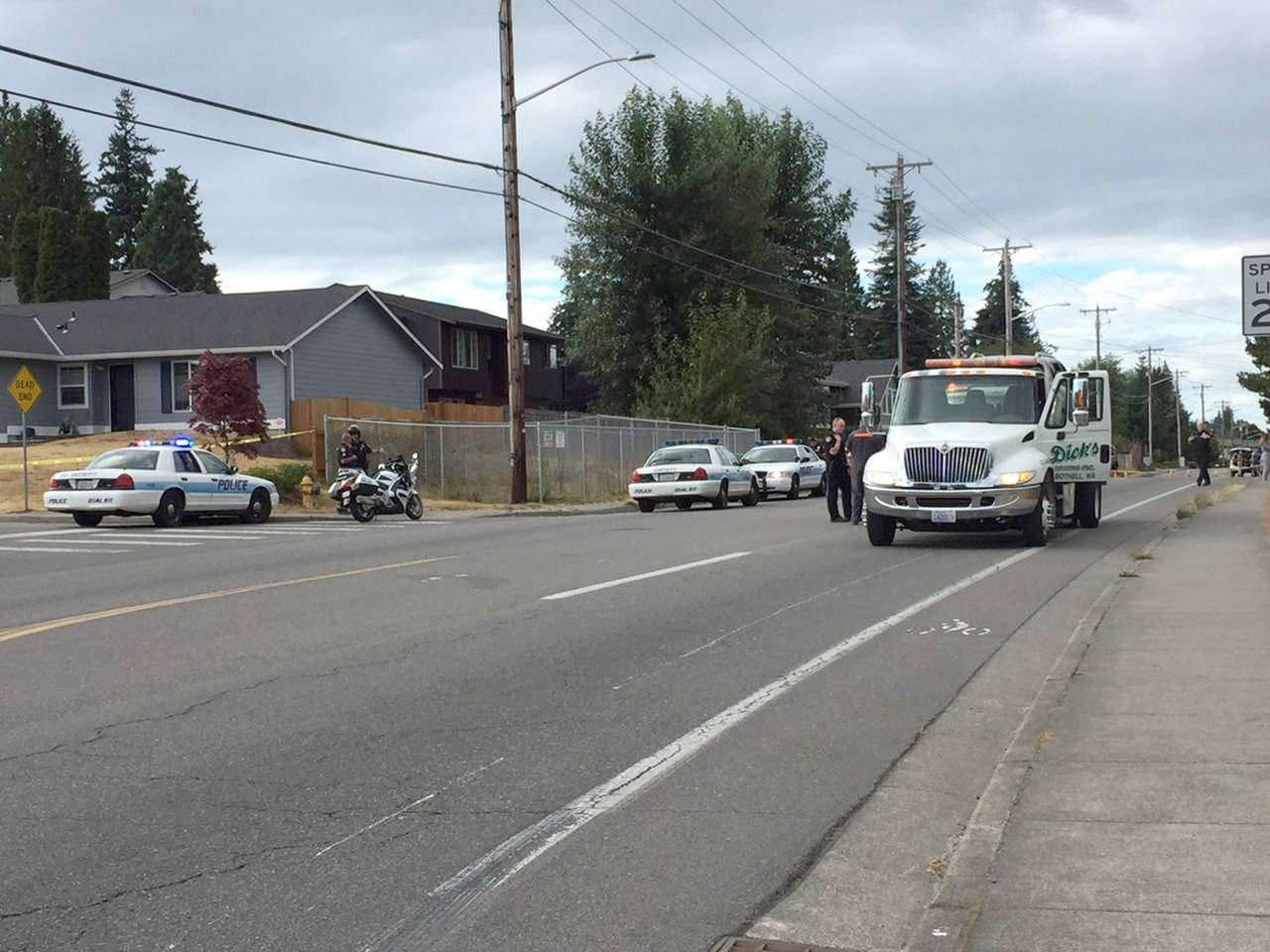 No one was injured and two people were arrested Wednesday after a drive-by shooting along Holly Drive. (Everett police)
