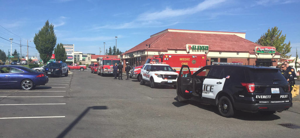 The second of two seemingly unrelated shootings in south Everett occurred on Evergreen Way, according to police. (Everett Police Department)