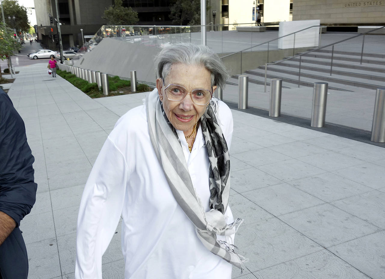 Waverly Scott Kaffaga, stepdaughter of author John Steinbeck, leaves federal court in downtown Los Angeles on Tuesday. (AP Photo/Brian Melley)