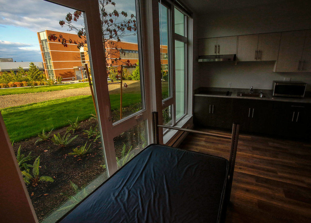 A studio apartment at EvCC's new Cedar Hall is designed to accomodate people with disabilities. This ground level studio has a bucolic view, despite its off-Broadway location. (Dan Bates / The Herald)