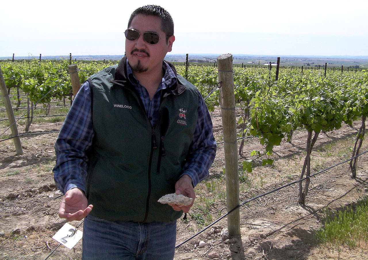 Victor Palencia, who grew up in Prosser, Washington, stands in Two Gun Vineyard, an estate planting for Jones of Washington in Quincy. (Photo by Eric Degerman/Great Northwest Wine)