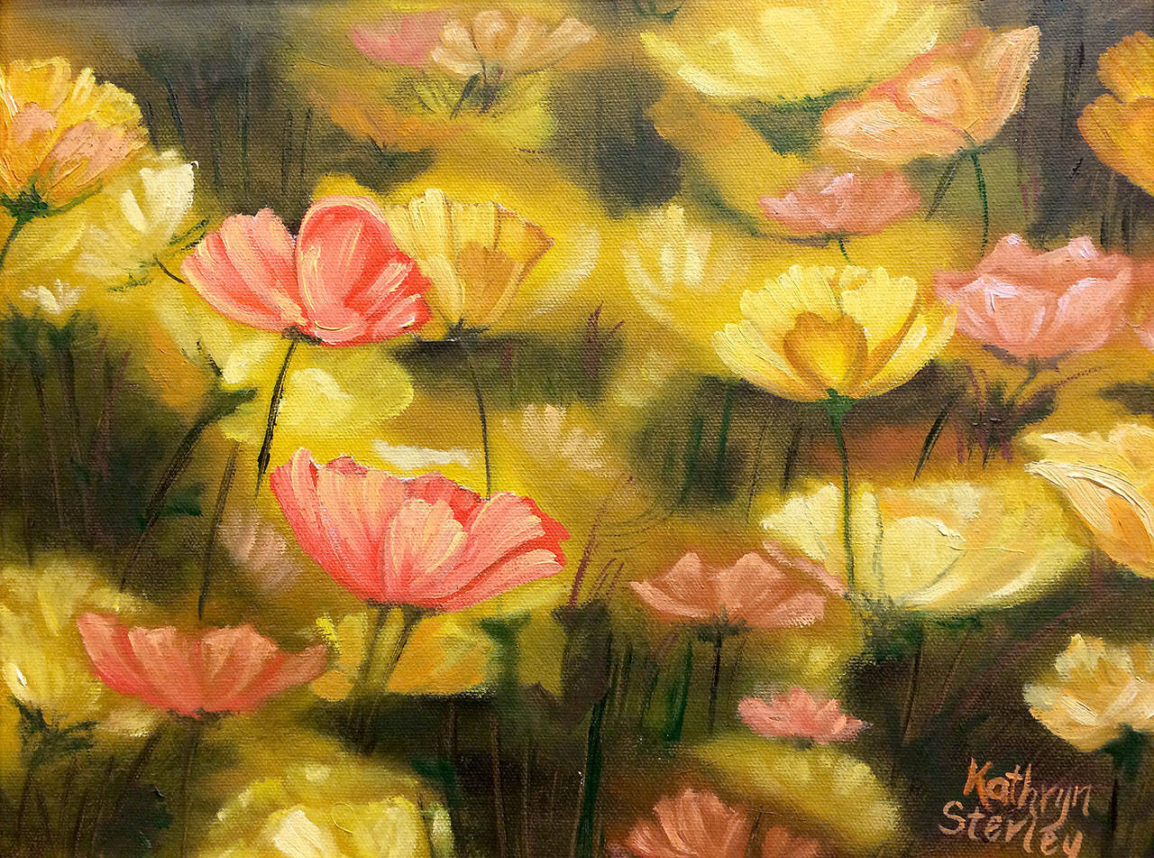 """Golden Floral,"" a painting by Kathy Sterley, is displayed through October at the Arts of Snohomish gallery."
