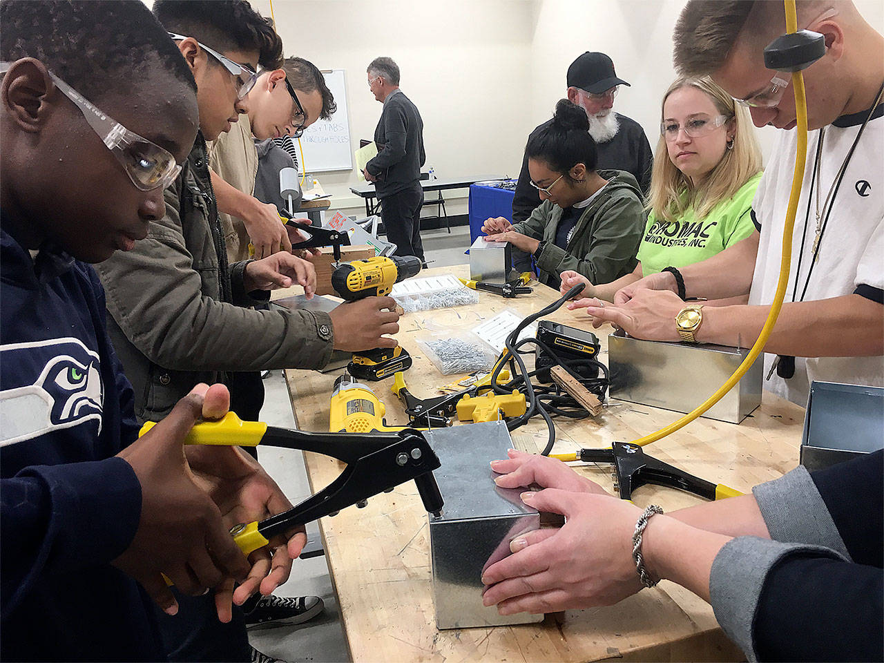 Cascade High School students built sheet metal boxes at AMTEC and toured The Boeing Company as part of National Manufacturing Week the first week of October. (Contributed photo)