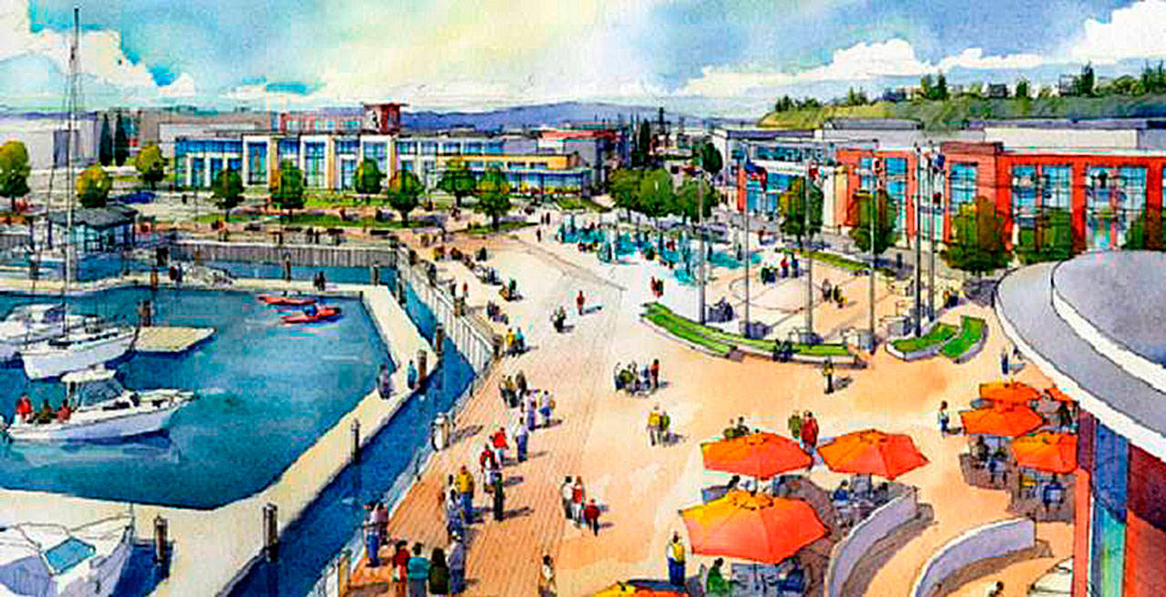 Artist rendering of Fisherman's Harbor, the first phase of the Waterfront Place Central project in Everett. (Contributed)