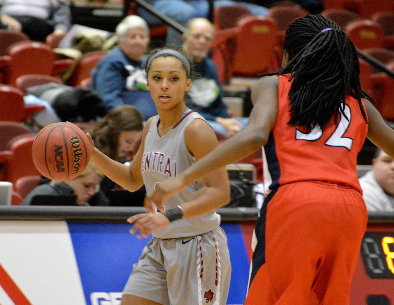 Jasmin Edwards, a Central Washington University senior guard who graduated from Lynnwood High School, looks to set a play. (Photo courtesy of Central Washington)