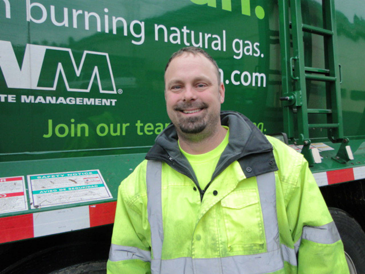 Leo Holte, of Everett, is a garbage truck driver and military veteran. (Waste Management)