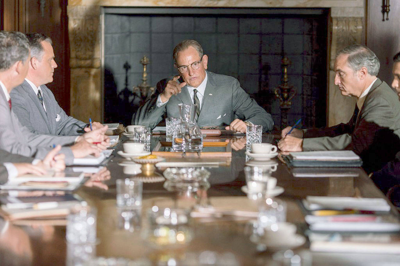 "Woody Harrelson as Lyndon Baines Johnson squares off with Michael Stahl-David's Robert F. Kennedy, Jr., in the Rob Reiner biopic ""LBJ."" ( Electric Entertainment)"