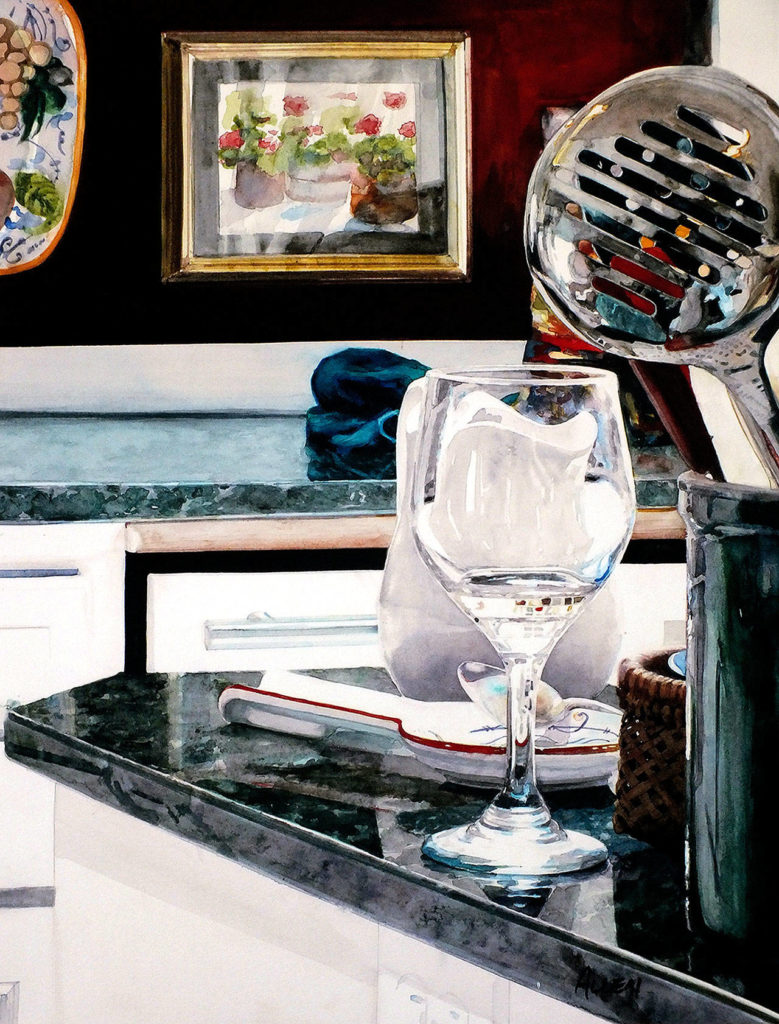"Lee Allen's painting of his kitchen, ""Reflections,"" currently is displayed at the Schack Art Center."