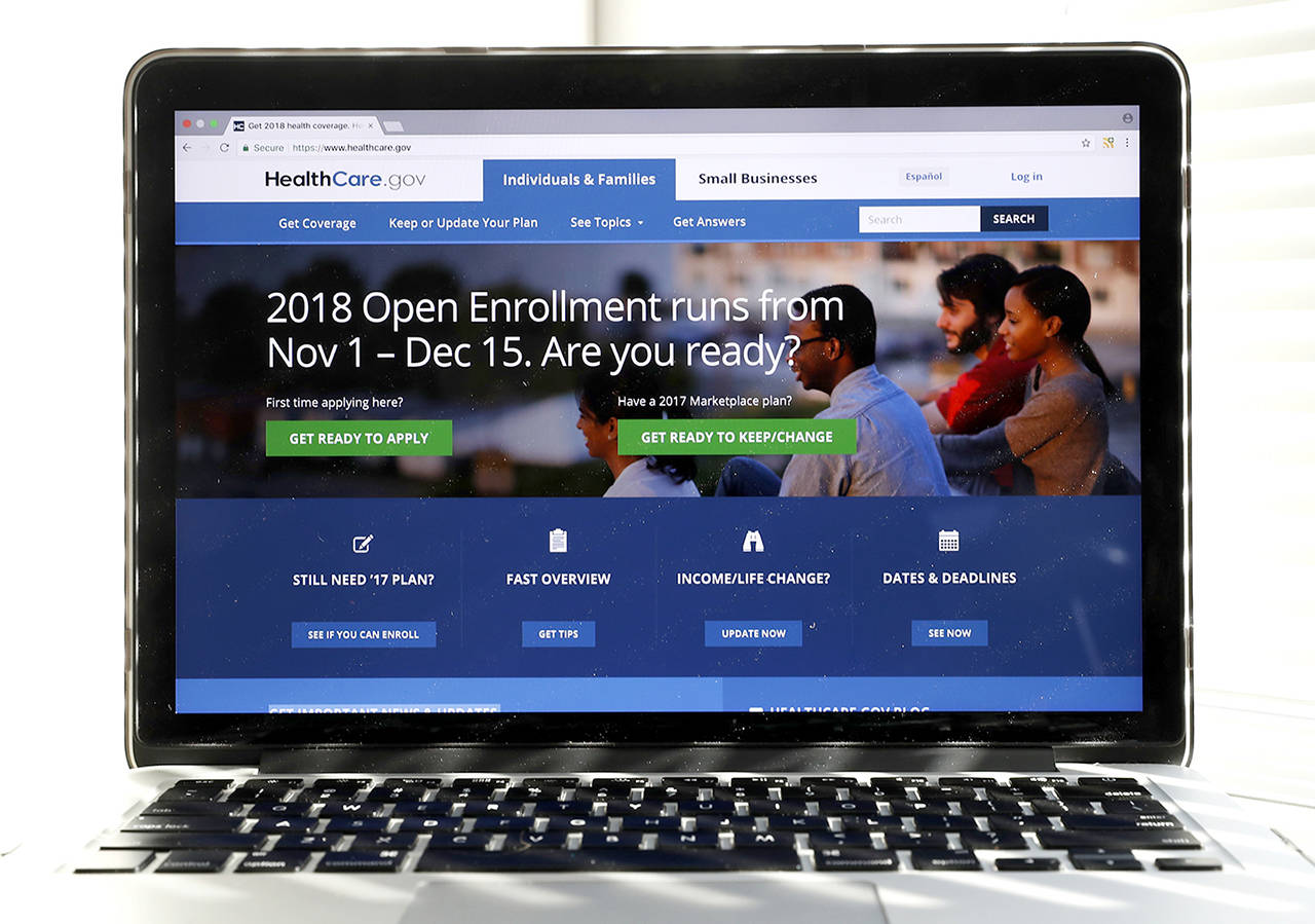 In this Oct. 18 photo, the Healthcare.gov website is seen on a computer screen in Washington. (AP Photo/Alex Brandon)