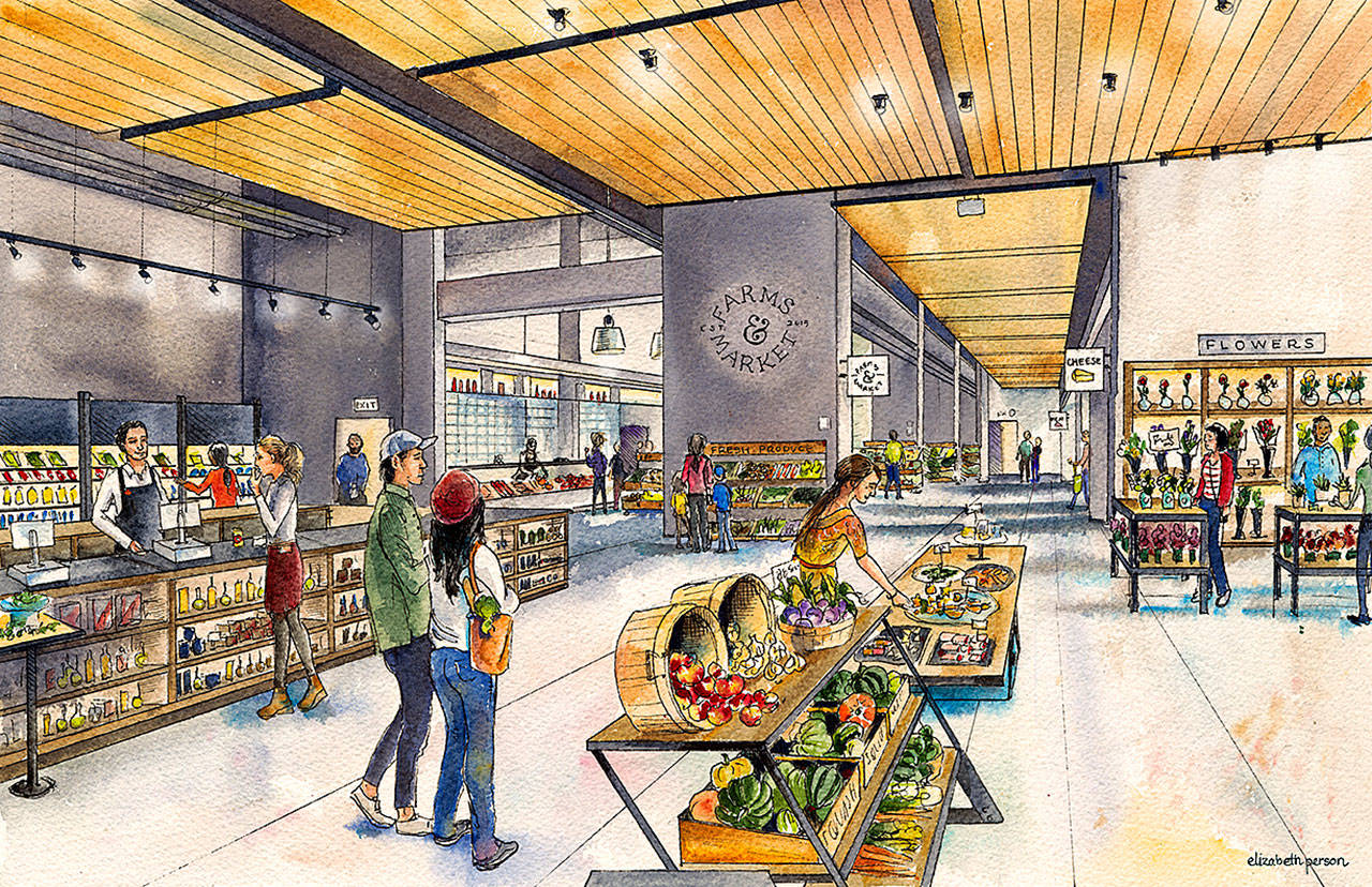 Farms & Market merges the year-round farmers market with a deli and production kitchen. The project is being opened on the ground floor of the Grand Avenue Apartments and Marketplace at 2900 Grand Ave. in downtown Everett. (Contributed artist rendering)