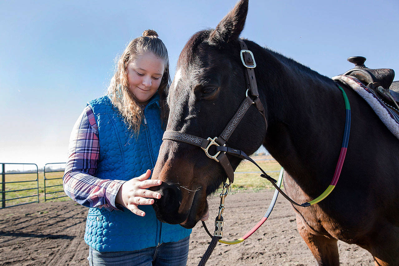 Abby Glenn, a student of Solid Ground Equine Assisted Therapy, pets the nose of Cash, a therapy horse, at the Griffith Ranch in Klamath Falls, Oregon. The therapeutic horseback-riding program that started operating in mid-September in Klamath Falls is providing a calming environment for riders diagnosed with developmental and other disabilities. (Brittany Hosea-Small / The Herald and News)