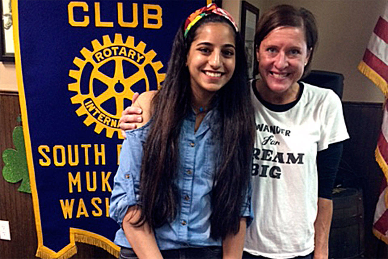 South Everett-Mukilteo Rotary Club president Julie Frauenholtz (right) congratulates Joumana Barbakh as a Student of the Month from Kamiak High School. (Contributed photo)