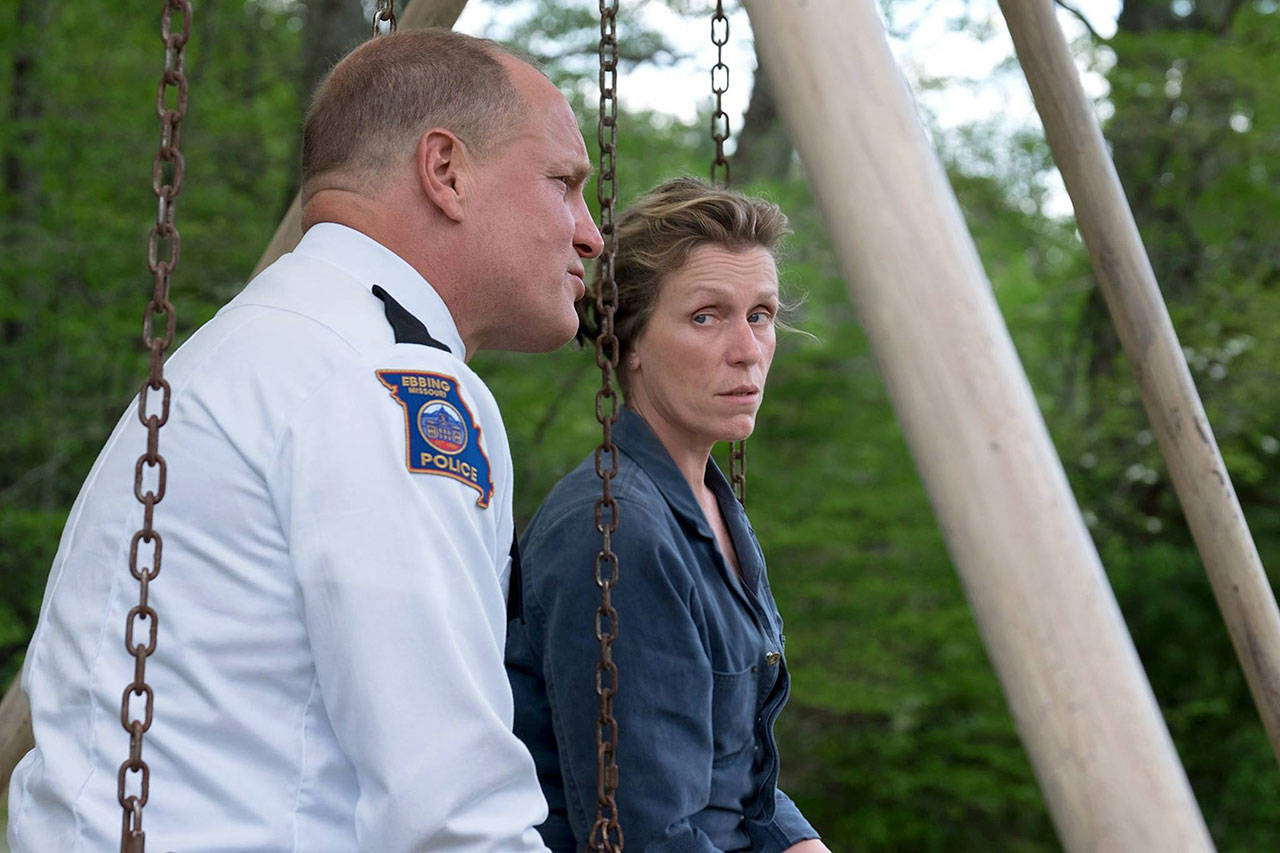 "The world's toughest grieving mother (Frances McDormand) questions a beleaguered sheriff played by Woody Harrelson in ""Three Billboards Outside Ebbing, Missouri.""(Fox Searchlight Pictures)"