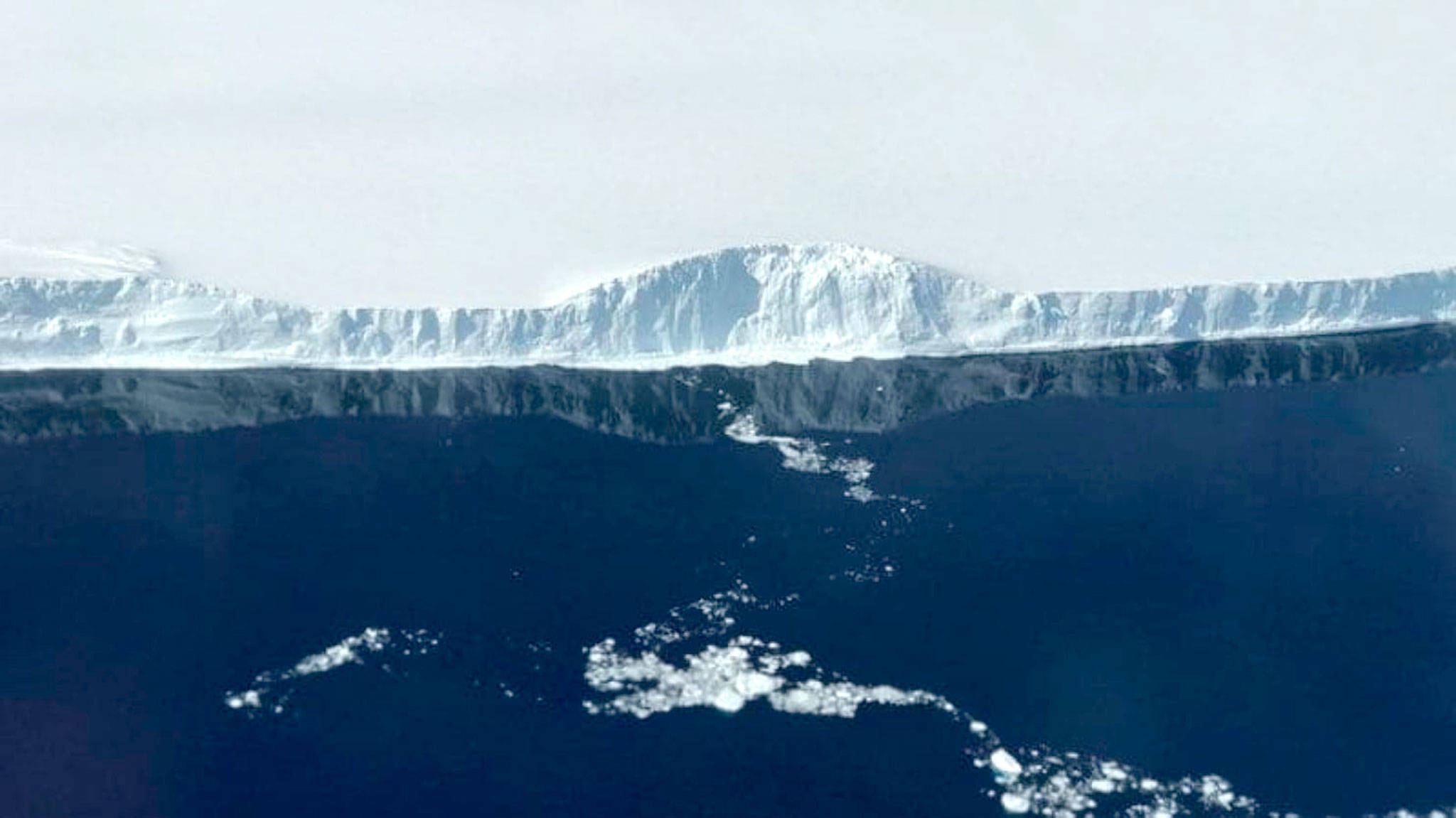 The edge of A-68, the iceberg that detached from the Larsen C ice shelf in July. (NASA/Nathan Kurtz)