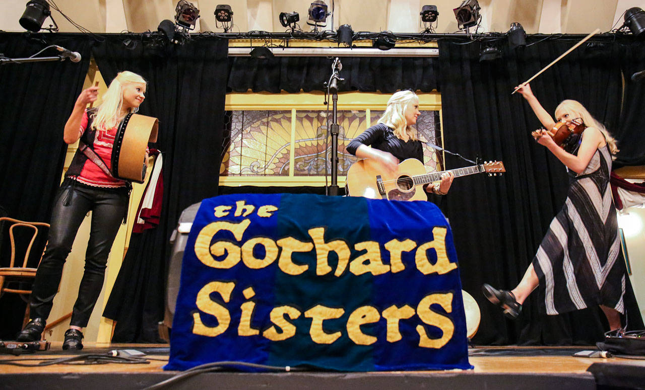 Solana, Greta and Willow make up The Gothard Sister of Edmonds at Thumbnail Theater in Snohomish before their sold out show on Oct. 1. (Kevin Clark / The Herald)