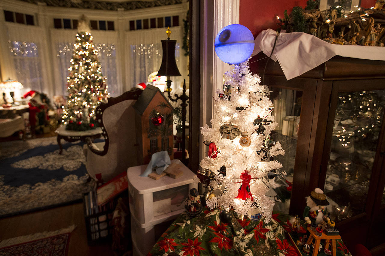 A dozen Christmas trees can be found throughout the Pickford residence, including a Star Wars-themed tree. (Ian Terry / The Herald)