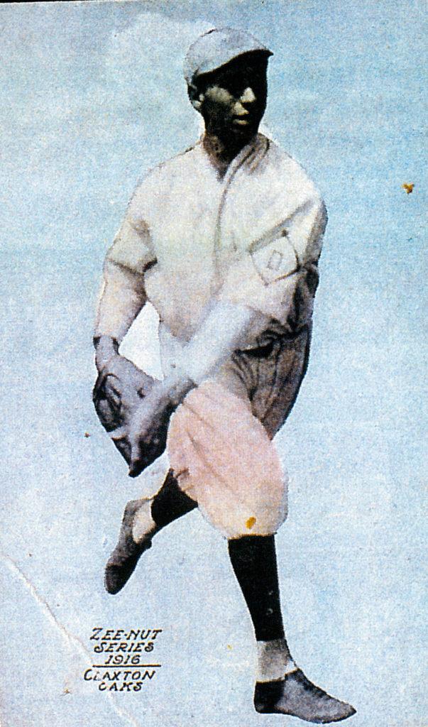 Jimmy Claxton broke professional baseball's color barrier in 1916. This is his baseball card as a pitcher for the Oakland Oaks. (Steven K. Bertrand)