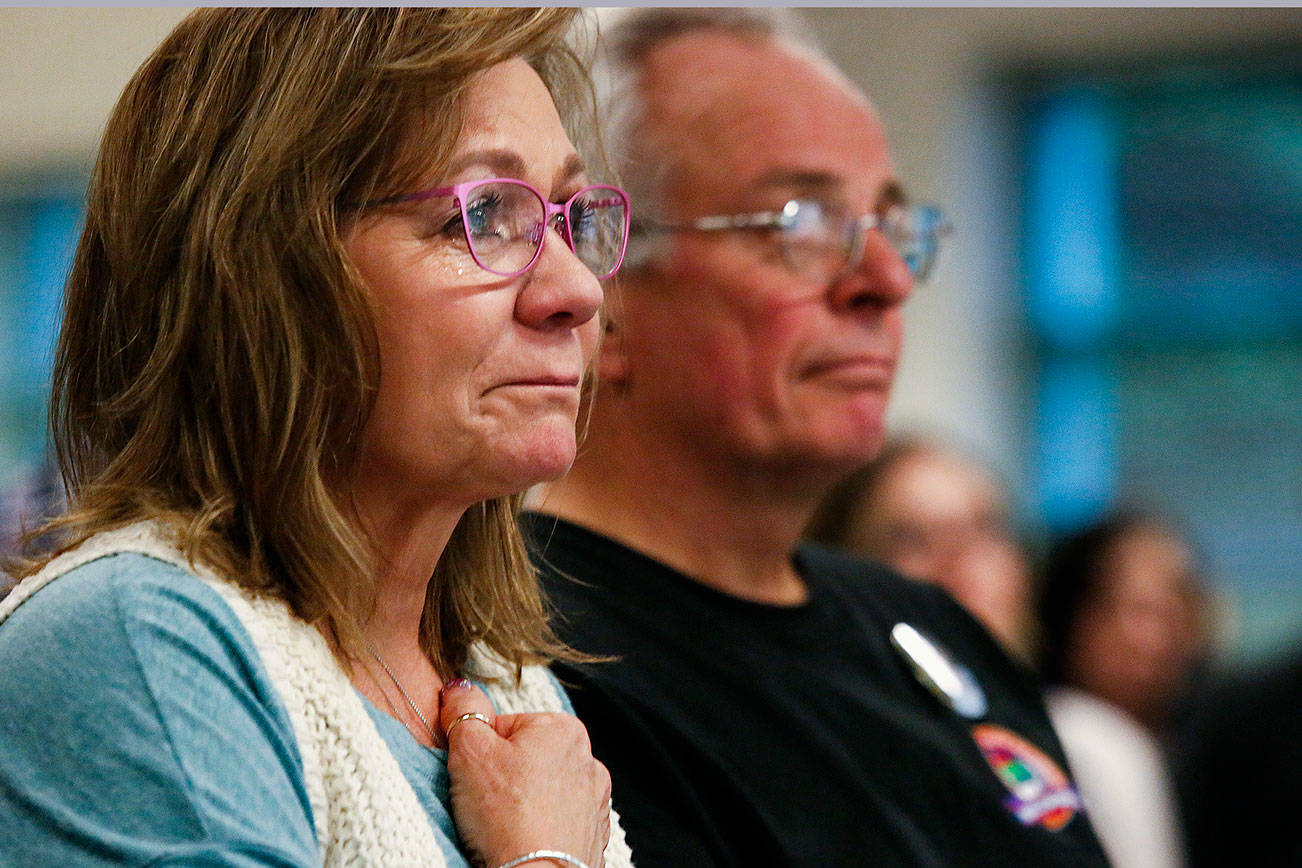 At a gathering Thursday at Providence Regional Medical Center Everett, Vicki Moore was visibly moved by those who spoke of her son Parker Lang's thoughtfulness, including having made the decision on his own, just months before he was killed, to become an organ donor. Parker died March 11, 2016, after being struck by a vehicle in Mill Creek. His organs have saved a number of lives. (Dan Bates / The Herald)