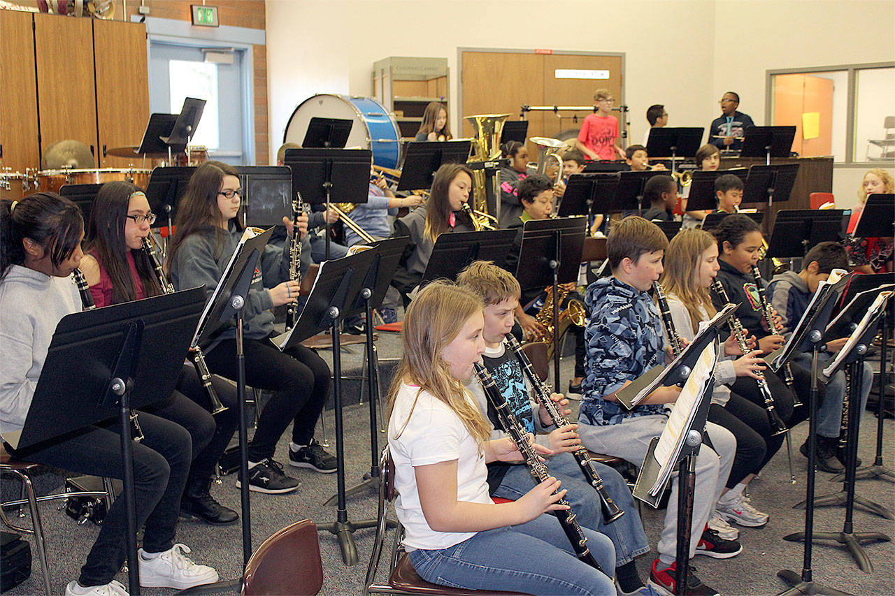 North Middle School beginning band students practice with instruments donated through Music4Life. (Contributed photo)