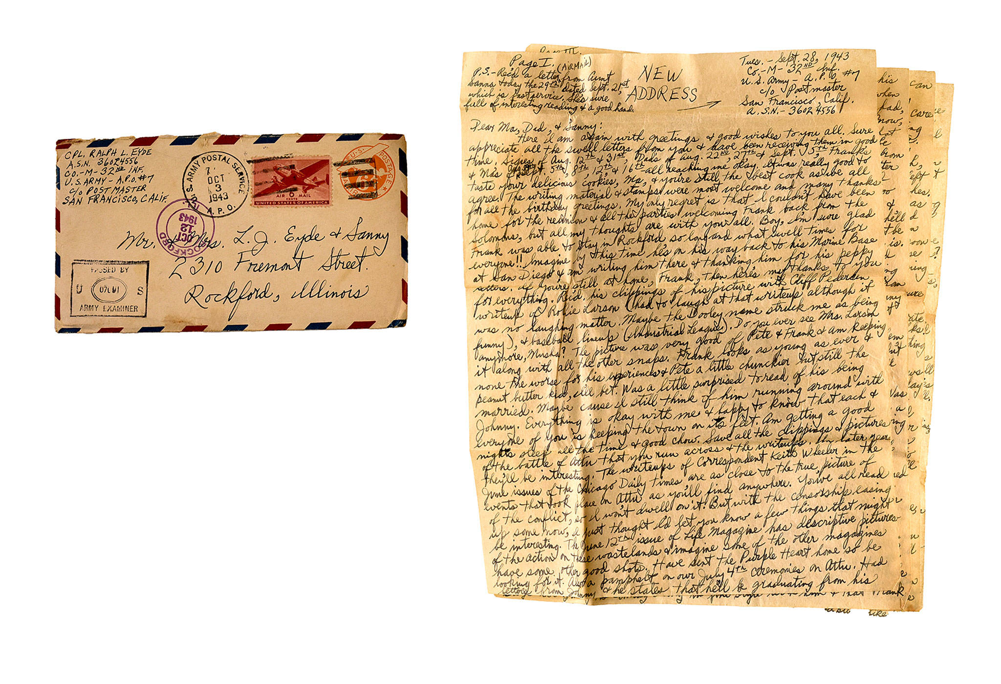 One of the hundreds of letters written during and after World War II, mostly by the members of a single family — the Eydes of Rockford, Illinois. (Bill O'Leary / Washington Post)