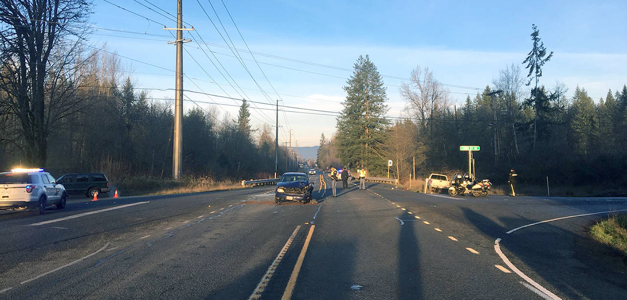 One driver died in a three-car crash Tuesday afternoon on Highway 92 near Lake Stevens. (Washington State Patrol)